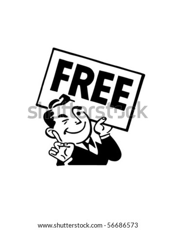 Man With Sign - Retro Clip Art - stock vector
