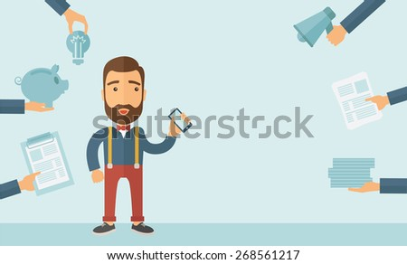 Man with smartphone in hand has a lot of of task and paperwork suitable for time management business concept. A contemporary style with pastel palette, soft blue tinted background. Vector flat design - stock vector