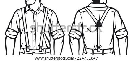 man with suspenders (man wearing suspenders) - stock vector