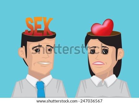 Man with the word sex in his head and woman have a heart representing love in her head. Conceptual vector illustration for different wants and desire between man and woman in relationship. - stock vector