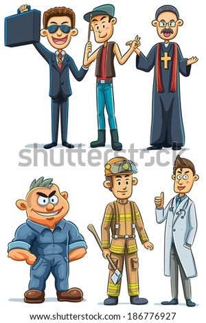 Man  With Various Professions - stock vector