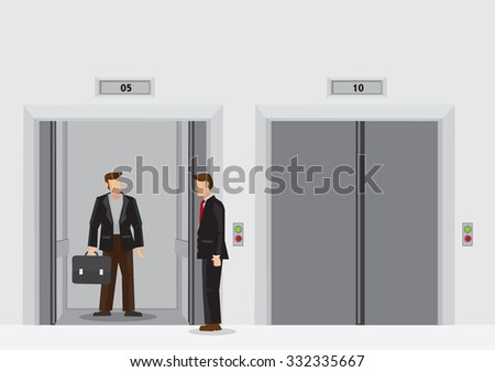 Man with work bag inside elevator and man in suit standing outside. Cartoon vector illustration of daily scene at office lift lobby on a business day. - stock vector
