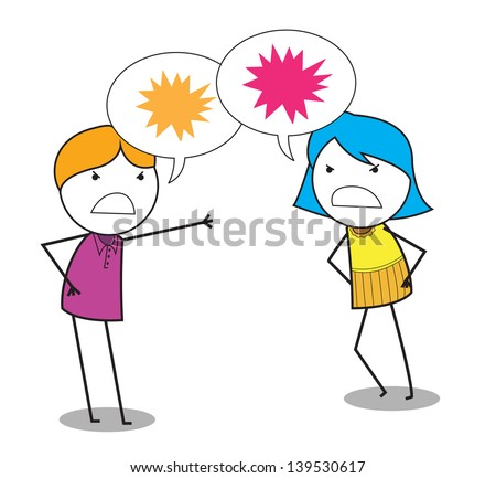 man woman conflict - stock vector
