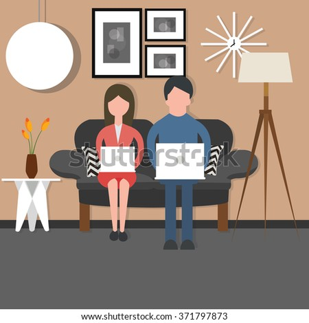 man woman couple working on laptop sitting on chair living room - stock vector