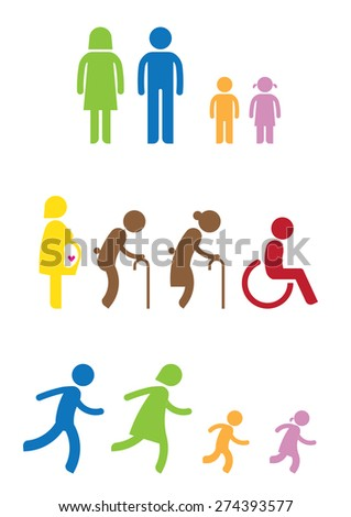 man woman kids old pregnant handicap symbol icon - stock vector