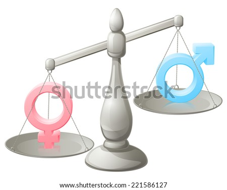 Man woman scales concept with male and female symbols, the female weighing more - stock vector