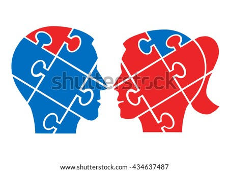 Man woman understanding concept. Two Puzzle heads silhouettes symbolizing understanding between man and woman. Vector available.  - stock vector