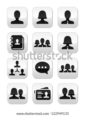 Man woman user vector buttons set - stock vector