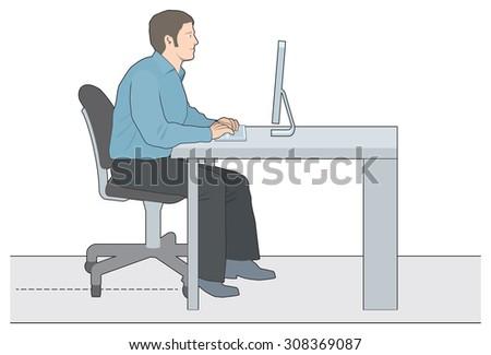 Man working at computer - stock vector