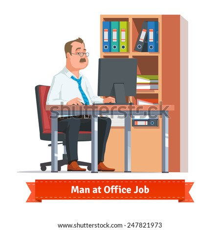 Man working on a computer at the office table behind a cupboard full of ring binders and papers. Flat style illustration or icon. EPS 10 vector. - stock vector