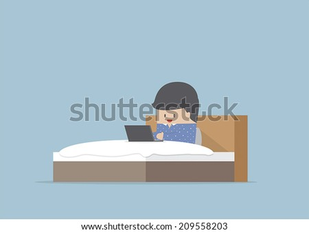 Man working on his laptop in the bed, VECTOR, EPS10 - stock vector