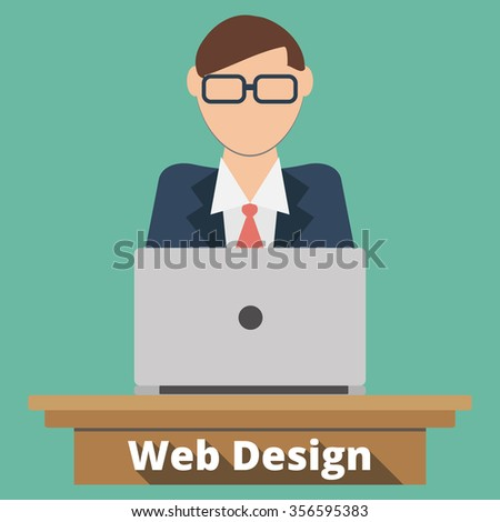Man working using his computer in desk. Flat design . Freelance career. Graphic design. Businessman Of Working Everyday On the Desk. programmer and process coding and programming concept. - stock vector