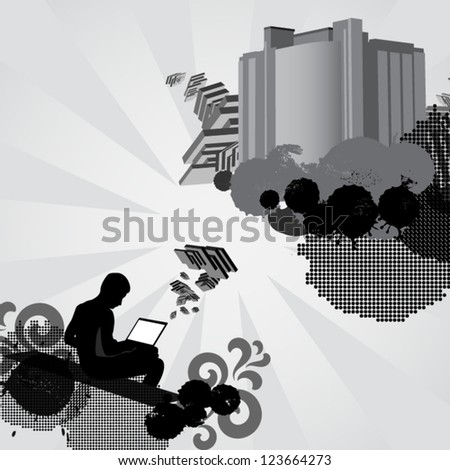 Man works on laptop computer and creates something new. Concept illustration. - stock vector