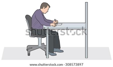 Man writing at desk - stock vector