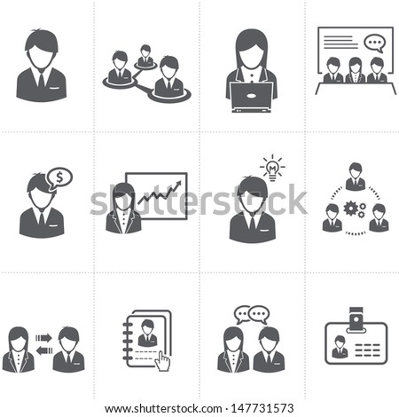 Management and Human Resource businessman Icons - stock vector
