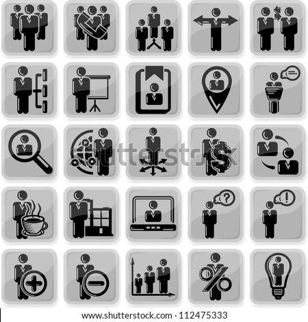 Management and human resource 25 icons - stock vector