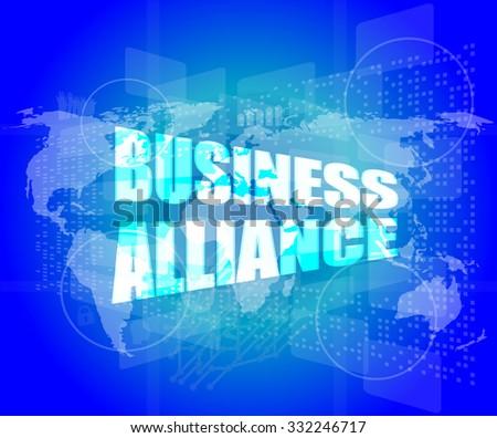 Management concept: business alliance words on digital screen vector illustration - stock vector