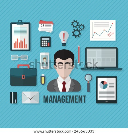 Management concept with objects and devices. Flat design vector illustration.  - stock vector