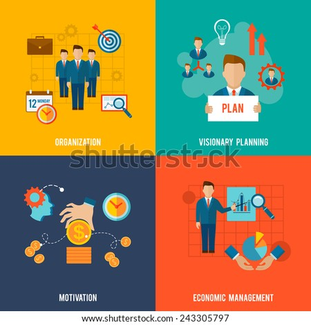 Management design concept set with organization visionary planning motivation flat icons isolated vector illustration - stock vector