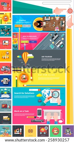 Management digital marketing srartup planning analytics design pay per click seo social media traveling tourism and development launch. Banners for websites flat design style - stock vector
