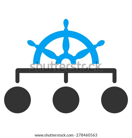 Management icon from Business Bicolor Set. This isolated flat symbol uses modern corporation light blue and gray colors. - stock vector