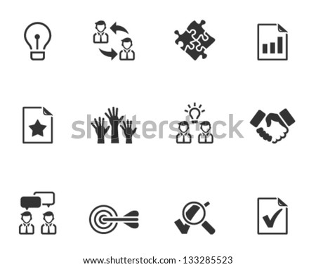 Management icon series  in black and white - stock vector