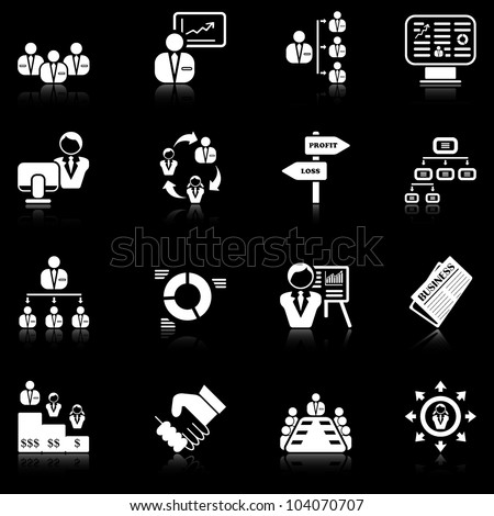 Management icons with reflection - black series - stock vector