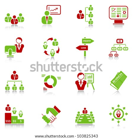 Management icons with reflection - green-red series - stock vector