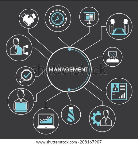 management info graphic in black background - stock vector