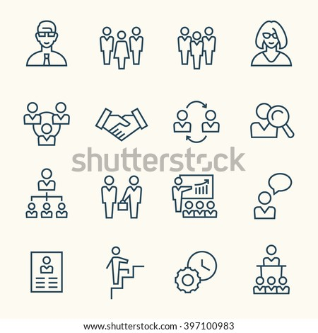 Management line icons - stock vector