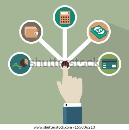 Management of money - vector illustration - stock vector
