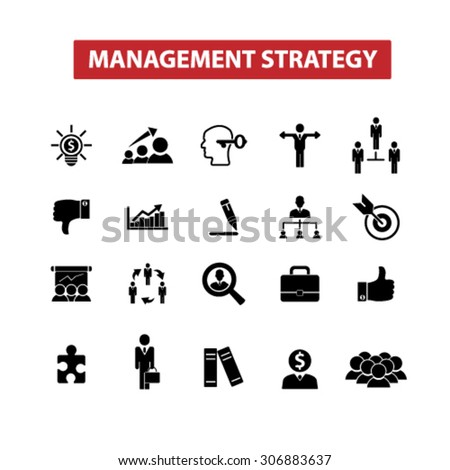 management strategy, goal, leadership, team icons, signs, illustrations set, vector - stock vector
