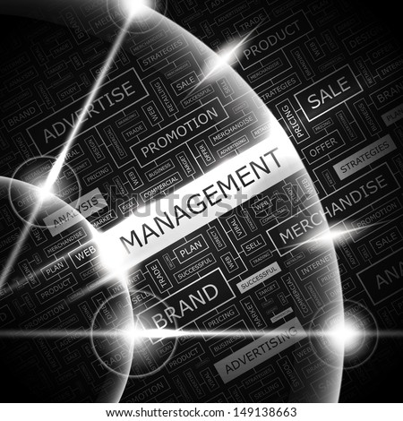 MANAGEMENT. Word cloud illustration. Tag cloud concept collage. Vector text illustration.  - stock vector