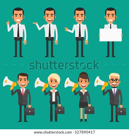 Manager and business people holding megaphone - stock vector
