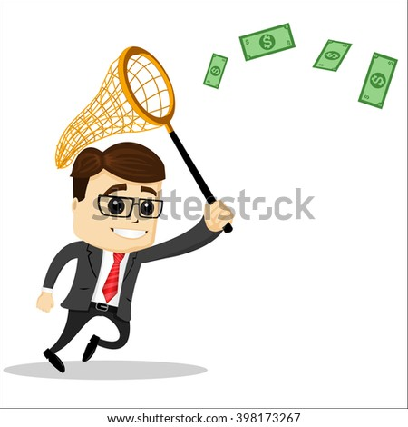 Manager character with a net to catch money. Net to catch. Manager character is running. Smiling and running manager character.  - stock vector