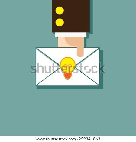 Manager gives an idea envelope - stock vector