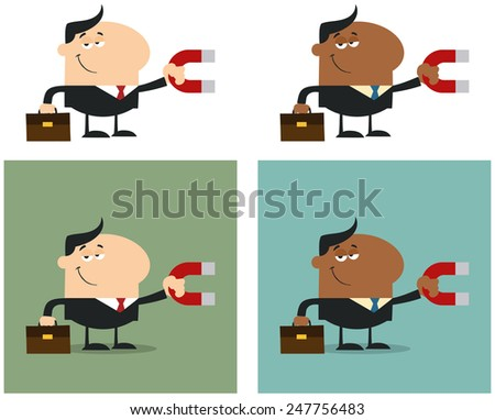 Manager Holding A Magnet. Flat Style Vector Collection Set - stock vector