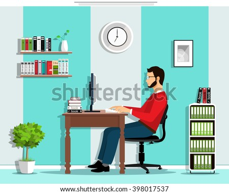 Manager in the office room interior. Vector flat style set: man working, sitting at desk, looking at computer screen. - stock vector