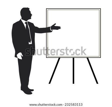 Manager shows: Items objectives, text, priorities, important data. Presentation. Seminar. Training. Leader. Infographic. Silhouette of a man. Pointing gesture. Vector. Icon. Black and white. - stock vector