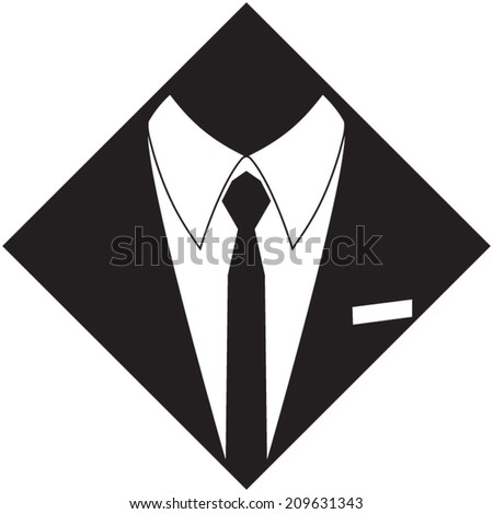 Manager suit silhouette. Hand drawn, vector illustration - stock vector