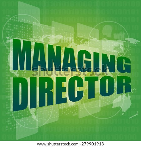 managing directors words on digital screen background with world map vector - stock vector