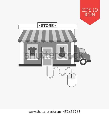 Managing online shop concept icon. Flat design gray color symbol. Modern UI web navigation, sign. Illustration element - stock vector