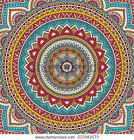 Mandala background. Vintage decorative elements. Hand drawn background. Islam, Arabic, Indian, ottoman motifs.  - stock vector
