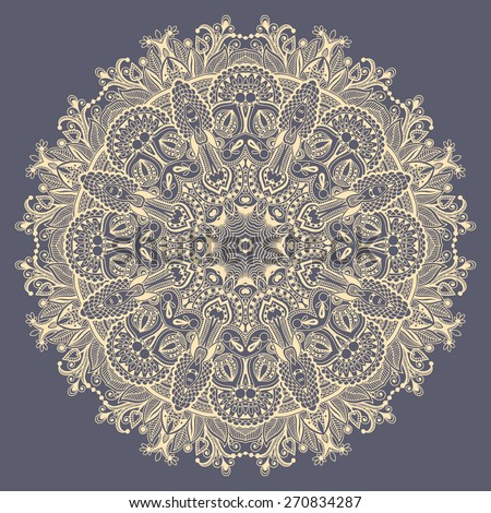 mandala, circle decorative spiritual indian symbol of lotus flower, round ornamental lace pattern, vector illustration - stock vector