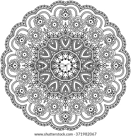 Mandala Coloring Illustration. Coloring book for adult and older children. Coloring page with mandala. Outline hand drawn. Vector illustration. - stock vector