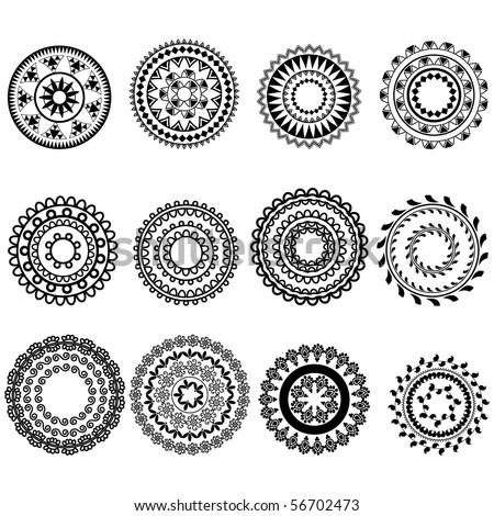 Mandala design Henna art inspired, easily editable - stock vector