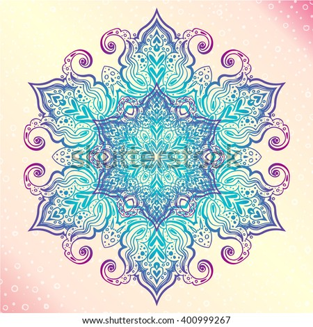 Mandala. Floral vintage round amulet. Indian, Arabic, Buddhist medallion. It can be used for tattoo prints on t-shirts, design and ad restaurants, wedding cards - stock vector