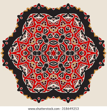 Mandala in Red and Brown Colors. Oriental Wallpaper. Mandala Tile. Card of invitation Vintage decorative elements. Colorful Hand drawn background. Islamic, Arabic, Indian, Asian, Ottoman motifs. - stock vector