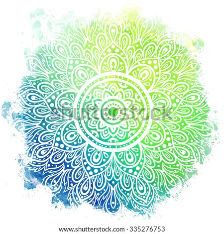 Mandala over colorful watercolor. Beautiful vintage round pattern. Hand drawn abstract background. Decorative isolated. Invitation, t-shirt print, wedding card. Tattoo element.  - stock vector