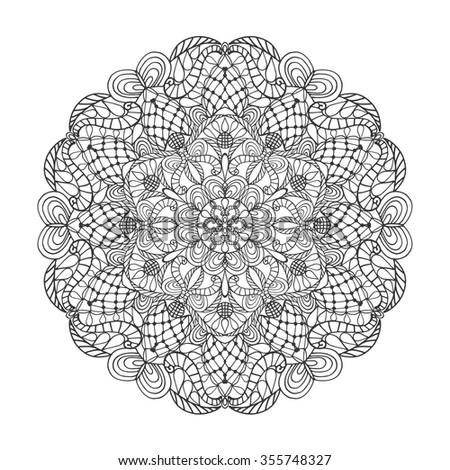 Mandala pattern. Vintage decorative vector ornament. Hand drawn background. East,Islam,Arabic,Indian,ottoman motif.Abstract Tribal,ethnic texture.Orient,symmetry lace,meditation symbol.Sacred geometry - stock vector